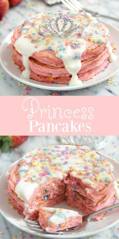 Princess Pancakes - Breakfast & Brunch Recipes - For Life Food Breakfast And Brunch, Breakfast For Kids, Kids Birthday Breakfast, Birthday Waffles Kids, Breakfast Waffles, Pancakes Easy, Cake Batter Pancakes, Birthday Cake Pancakes, Cinnamon Roll Pancakes
