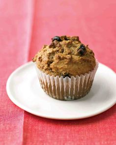Raisin Bran Muffins 3/4 cup milk 1/2 cup whole-wheat flour (spooned and leveled) 1/2 cup all-purpose flour, (spooned and leveled) 2 teaspoons baking powder 1/2 teaspoon ground cinnamon 1/4 teaspoon salt 1 large egg, lightly beaten 1/4 cup packed dark-brown sugar, bake 350 20 minutes