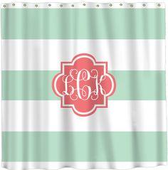 Monogram Shower Curtain ~ Stripes