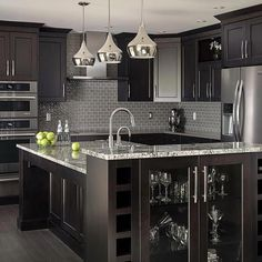 Uplifting Kitchen Remodeling Choosing Your New Kitchen Cabinets Ideas. Delightful Kitchen Remodeling Choosing Your New Kitchen Cabinets Ideas. Black Kitchen Cabinets, Black Kitchens, Luxury Kitchens, Kitchen Countertops, Home Kitchens, Kitchen Black, Dark Countertops, Kitchen Backsplash, Backsplash Ideas