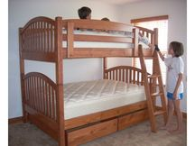 Arched Mission Queen Bunk Bed with Natural Teak Stain + Lacquer Clearcoat