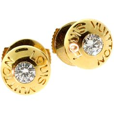 Pre-owned Louis Vuitton Diamond Gold Stud Earrings ($2,600) ❤ liked on Polyvore