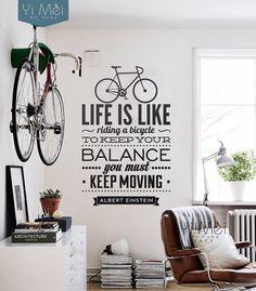 Decoração, A vida é como andar de bicicleta, Para manter o balanço você deve manter em adesivos de parede, Papel de parede em Papéis de parede de Casa & jardim no AliExpress.com | Alibaba Group