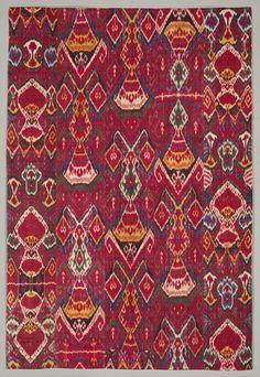Silk ikat wall hanging, Bukhara, Uzbekistan, The Cleveland Museum of Art Tribal Patterns, Textile Patterns, Print Patterns, Art Textile, Textile Prints, Ikat Pattern, Pattern Design, Cleveland Museum Of Art, Ikat Fabric