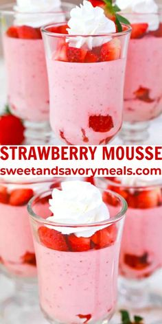 Desserts For A Crowd, Asian Desserts, Easy Desserts, Delicious Desserts, Strawberry Mousse, Strawberry Desserts, Strawberry Fields, Recipes Using Fruit, Best Dessert Recipes