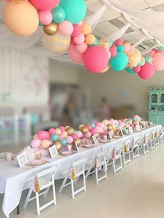 Unicorn party balloon garland Stylish Soirees Perth - New Deko Sites Birthday Balloon Surprise, Birthday Party Tables, Unicorn Birthday Parties, Birthday Balloons, First Birthday Parties, Birthday Party Decorations, First Birthdays, Birthday Ideas, Balloon Garland