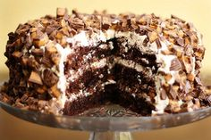 Chocolate Reese's Cake- peanut butter frosting!