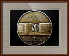 "Patek Philippe Geneve Commemorative Medal Coin (Front) // Paper: enhanced matte; Glazing: acrylic; Moulding: light brown, spada humble honey; Top Mat: black/gray, fiori grotto; Middle Mat: brown, tudor; Bottom Mat: black/gray, fiori grotto // Price starts at $168 (Petite: 20"" x 22""). // Customize at http://www.imagekind.com/Patek-Philippe-Geneve-PPG_art?IMID=5cad76ca-2632-4430-9e1b-71f73e27c714"