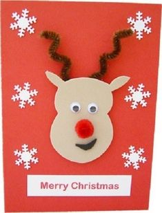 For this card craft, you'll be needing a blank card, as usual and some foam sheet cut-out of reindeer with googly eyes. It also needs snow flake cut outs. Christmas Card Crafts, Homemade Christmas Cards, Christmas Cards To Make, Christmas Greeting Cards, Handmade Christmas, Holiday Crafts, Reindeer Christmas, Christmas Projects, Christmas 2019