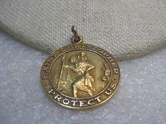 Vintage 14kt St. Christopher Pendant/Medal  Protect Us