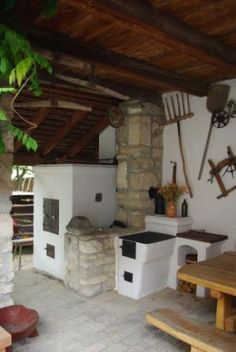 Nyari konyha - Old Hungarian home's summer kitchen Fire Cooking, Outdoor Cooking, Hungarian Recipes, Hungarian Food, Wood Fired Oven, European Home Decor, Best Kitchen Designs, Simple Pleasures, House Floor Plans