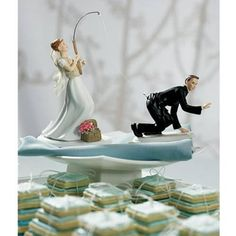I love this wedding cake topper!  This is so Jon and I.