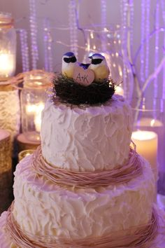 rustic wedding cakes | Rustic Wedding cake. I don't like those birds. But other birds would be cute. The initials are right!