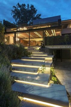 outside spaces concrete steps with individual lighting
