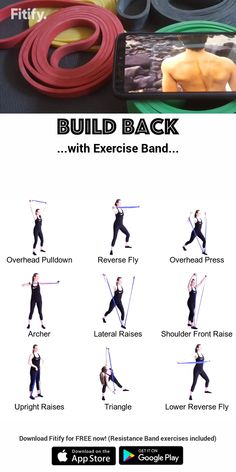 Back Workout with a Resistance Band Intense workout to target your upper and lower back muscles. Resitance Band Workout, Leg Workout With Bands, Hiit Workout Videos, At Home Workouts, Workout Exercises, Exercise Band Workouts, Couch Workout, Resistance Band Training, Resistance Workout