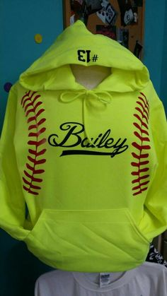 These are our Adult Unisex Softball Hoodies that we have added red REGULAR or GLITTERED vinyl to. In the center we can add a large monogram, team Softball Shirts, Softball Party, Softball Crafts, Softball Quotes, Softball Pictures, Softball Players, Girls Softball, Fastpitch Softball, Baseball Mom