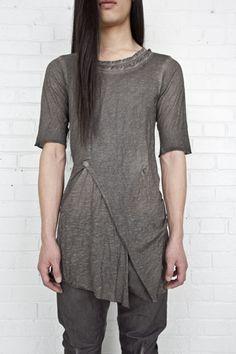 "This is a guy's shirt, but I'd wear it.  Boris Bidjan Saberi ""segment tee""."