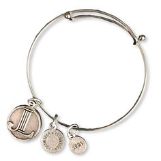 3 Smooth Silver Plated Three Slim Bangles Bracelet with Padlock Heart Charm
