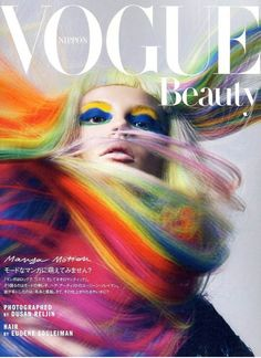 Swirling rainbow hair on the cover of Vogue.