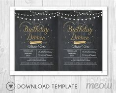 7 x 5 inch INSTANT DOWNLOAD customizable Birthday Dinner PDF invite. > Edit the text instantly at home using the FREE program Adobe Reader. > Print at home, online or at a print shop. ------------------------- PERFECT FOR... ------------------------- Any Age Birthday Dinner, CHANGE THE