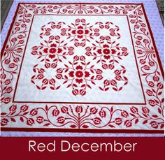 Red December digital pattern - monochromatic with good border
