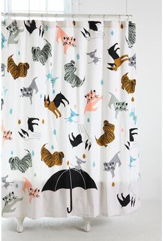 Raining Cats and Dogs Shower Curtain  LOVE this pattern - perhaps something like this for the entry?