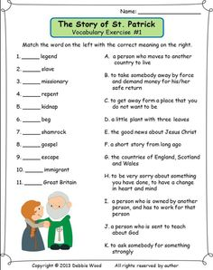The Story of St. Patrick:  Reading/ 3 Vocabulary Exercises/ Sequence Strip Story/ Making Information Questions/ Scrambled Words