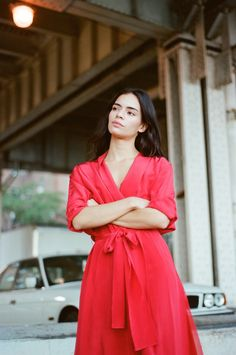 COCO BAUDELLE in our Passion Red Silk Kimono Dress
