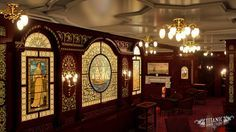 *TITANIC SMOKE ROOM ~ A rendering of Titanic's First Class Smoke Room.Located…