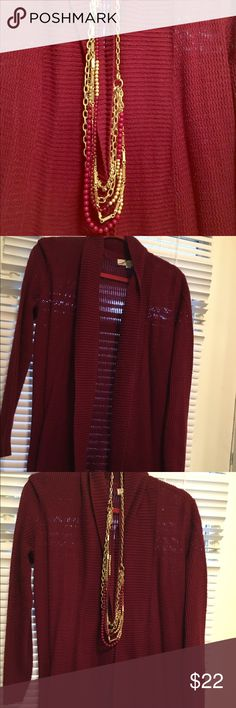 LOFT burgundy waffle weave cardigan Worn 1X for Thanksgiving dinner, this cardigan is in great condition. Beautiful burgundy color with ribbed collar and a waffle weave texture. LOFT Sweaters Cardigans