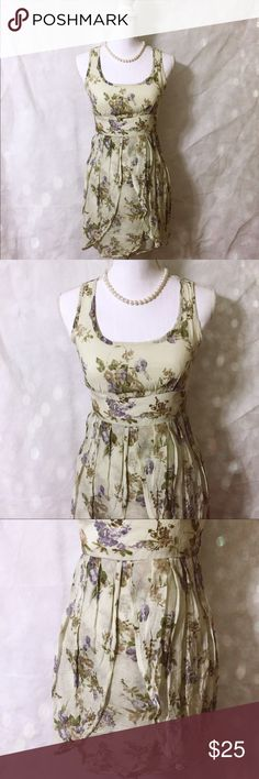 Floral Sunday Best Elegant and fun green floral dress. Great on hot days with sandals or on cool nights with your favorite oversized sweater! Cotton and acrylic. Chest: 16 in. Length: 32 in. Theme Dresses Mini