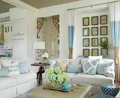 Beach Home Tour. Light blue, white and sand decor colors with lots of coastal and beach decorations: http://beachblissliving.com/elegant-beach-house-decor-gci-design/