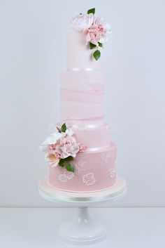 Lace Wedding Cakes Pink Marble and Lace wedding cake by Blossom Tree Cake Company, Harrogate, North Yorkshire - Elegant Wedding Cakes, Elegant Cakes, Beautiful Wedding Cakes, Wedding Cake Designs, Wedding Cake Toppers, Beautiful Cakes, Lace Wedding, Marble Cake, Pink Marble