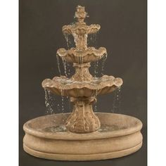 "Italian 3-Tier Outdoor Water Fountain with 55"" Basin"