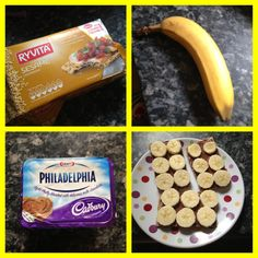Yummy breakfast. 3 ryvitas HEb 30g choc Philly 4.5syns & Banana. Worth the syns.