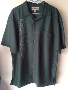 Hook & Tackle Mens Large Limited Edition Green Shirt Embroidered Marlin Fishing #HookTackle #ButtonFrontShirt