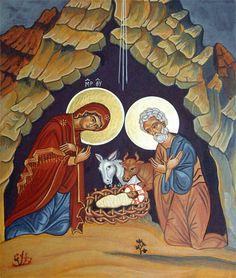 Nativity icon by Liesbeth Smulders Religious Images, Religious Icons, Religious Art, Greek Icons, Religion Catolica, Spirited Art, Jesus Art, Byzantine Icons, Christmas Icons