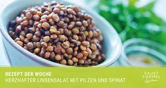Rezept der Woche: Linsensalat mit Pilzen und Spinat