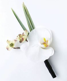 orchid boutonniere, with cherry blossoms and bear grass.. just need to add a lil hint of bling ;)