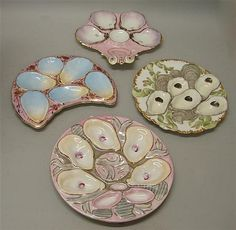 Grouping of Oyster Plates. Four oyster plates various designs, approximately 9'…