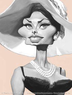 Caricatura de la actriz Sophia Loren, realizada por el artista Thierry Coquelet.     Caricatura de ...