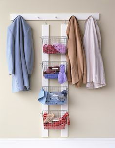 clothes storage...USE SOME KIND OF STACK OF BASKETS IN CLOSET FOR STORAGE...UNDIES, SOCKS, ETC.