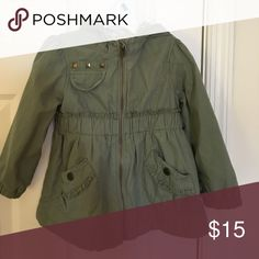 Hooded girls army/rain jacket Great condition Army green Old Navy Jackets & Coats