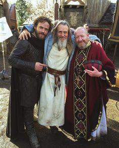 Vikings ...from left to right, Moe Dunford - (Aethelwulf ) , Linus Roache - ( King Ecbert ) & Philip O'Sullivan - ( Bishop Edmund )