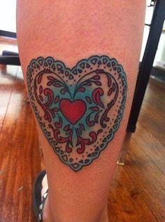 Lace Heart cute girly lauren winzer kawaii leg tattoo red blue hunter and fox tattoo sydney