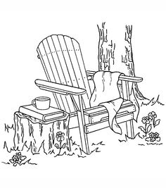 """Inky Antics Mounted Rubber Stamp 3""""X3.25""""-Adirondack Chair                                                                                                                                                                                 More"""