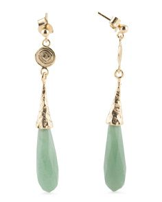 Made In Italy Rose Gold Tone Aventurine Drop Earrings