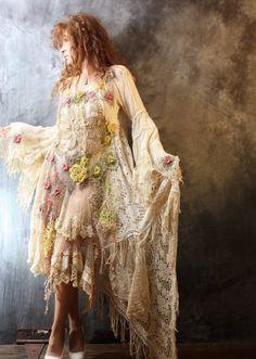 Vintage Bohemian Gypsy Hippie Crochet Lace Mermaid Fantasy Dress OOAK Handmade Wedding Made to Order