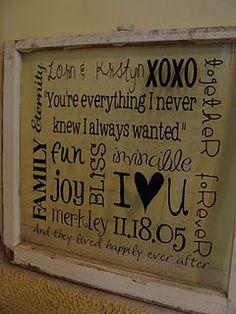 vinyl on old glass window... subway love art