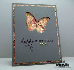 handmade birthday card ... negative space butterfly die cut ... luv the brightly patterned background paper with the dark gray main panel ...